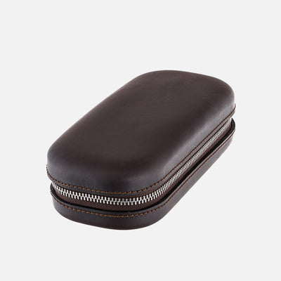 Dark Brown Moulded Oak-Tanned Leather Watch Case