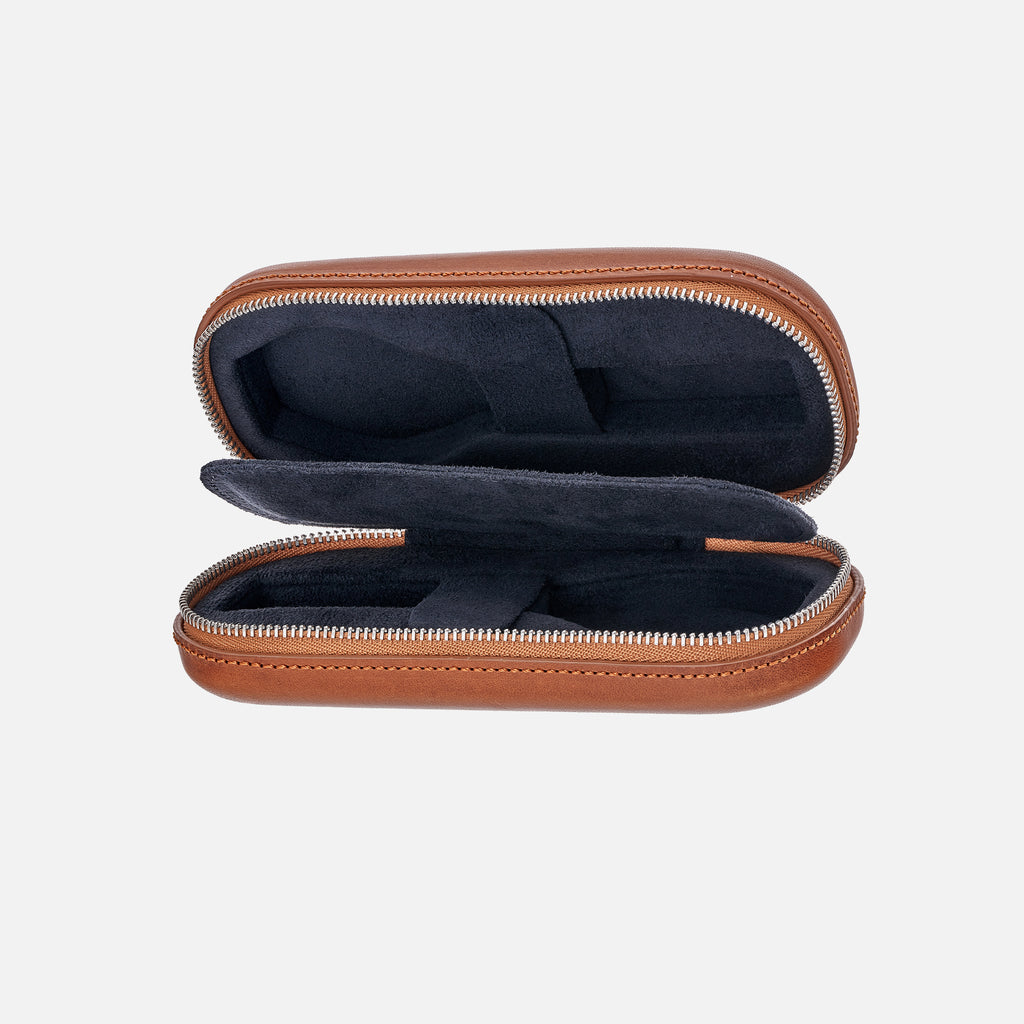 Light Brown Moulded Oak-Tanned Leather Watch Case