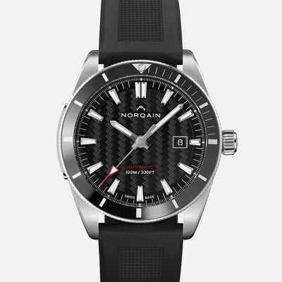 NORQAIN Adventure Sport Automatic Black Dial On Rubber Strap