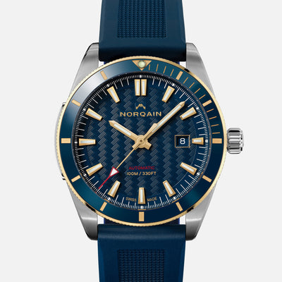 NORQAIN Adventure Sport Automatic Two-Tone Limited Edition With Blue Dial On Rubber Strap