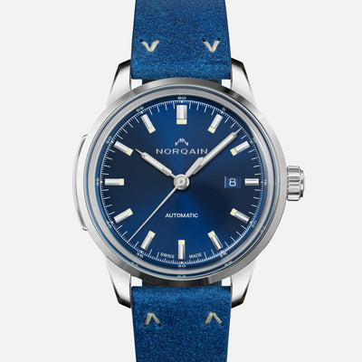 NORQAIN Freedom 60 Automatic Blue Dial On Leather Strap