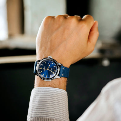 NORQAIN Freedom 60 Automatic Blue Dial On Leather Strap alternate image.