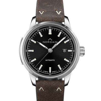 NORQAIN Freedom 60 Automatic Black Dial On Leather Strap