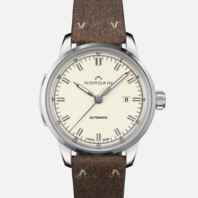 NORQAIN Freedom 60 Automatic Cream Dial On Leather Strap