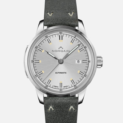 NORQAIN Freedom 60 Automatic Silver Dial On Leather Strap