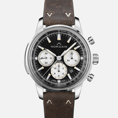NORQAIN Freedom 60 Chronograph Black Dial On Leather Strap