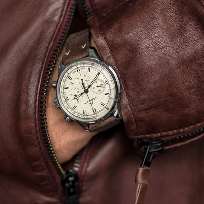 NORQAIN Freedom 60 Chronograph Cream Dial On Leather Strap alternate image.