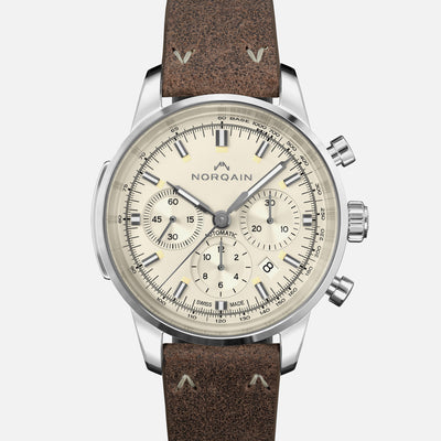 NORQAIN Freedom 60 Chronograph Cream Dial On Leather Strap