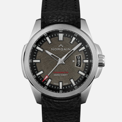 NORQAIN Independence 19 'Old Steel Finish' Dial On Leather Strap Limited Edition