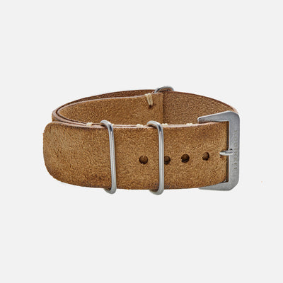 Distressed Beige Leather Single-Piece Watch Strap