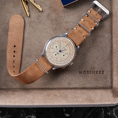 Distressed Beige Leather Single-Piece Watch Strap alternate image.