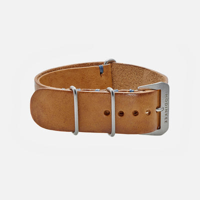 Beige Leather Single-Piece Watch Strap