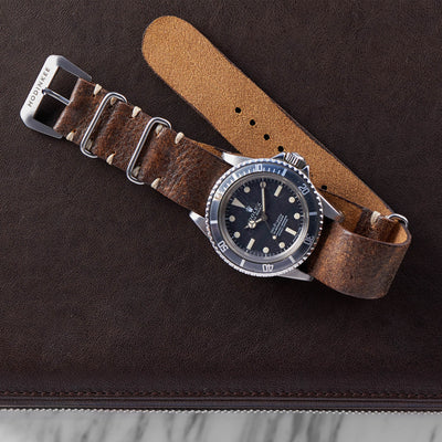 Dark Stained Brown Leather NATO Watch Strap alternate image.