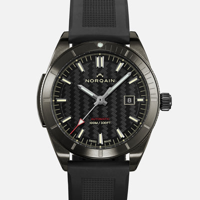NORQAIN Adventure Sport Automatic Black DLC On Rubber Strap