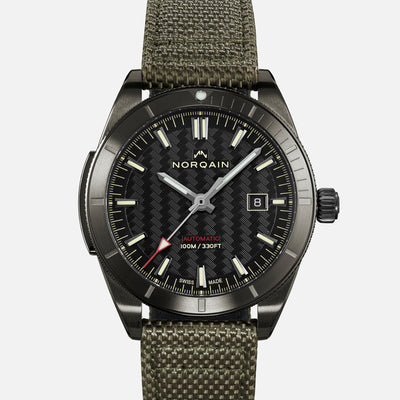 NORQAIN Adventure Sport Automatic Black DLC On Khaki Nordura Fabric Strap