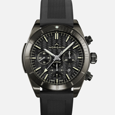 NORQAIN Adventure Sport Chronograph Black DLC On Rubber Strap