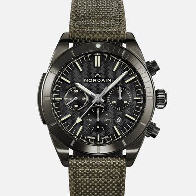 NORQAIN Adventure Sport Chronograph Black DLC On Khaki Nordura Fabric Strap