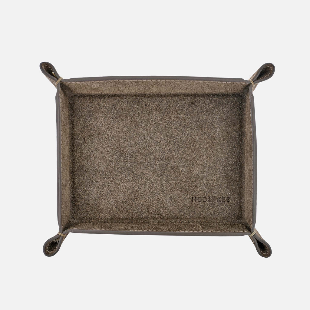 Small Grey Suede Valet Tray