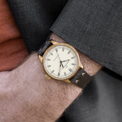 NORQAIN Freedom 60 39mm Bronze Case With Cream Dial On Leather Strap alternate image.