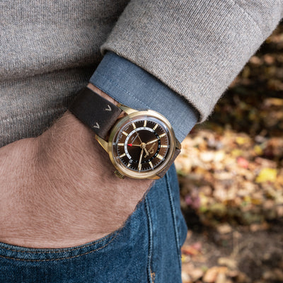 NORQAIN Freedom 60 GMT Bronze On Leather Strap Limited Edition alternate image.