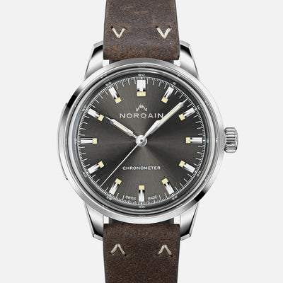 NORQAIN Freedom 60 39mm Stainless Steel Case With Anthracite Dial On Leather Strap