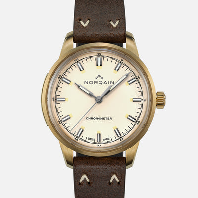 NORQAIN Freedom 60 39mm Bronze Case With Cream Dial On Leather Strap