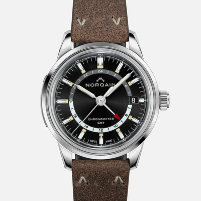 NORQAIN Freedom 60 GMT Stainless Steel On Leather Strap
