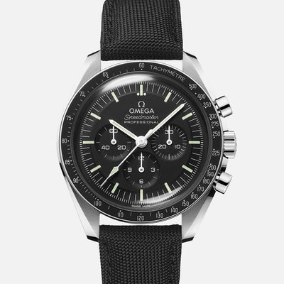 OMEGA Speedmaster Moonwatch Professional Co-Axial Master Chronometer Chronograph 42mm Hesalite Crystal On Strap With Caliber 3861