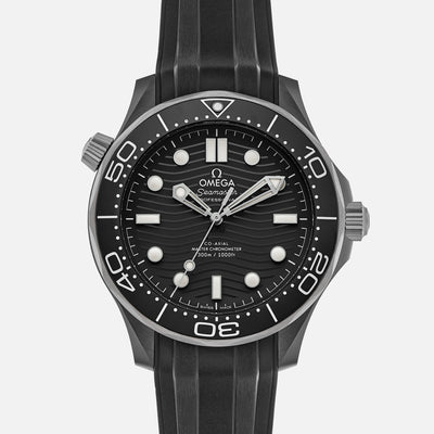 OMEGA Seamaster Diver 300M Co-Axial Master Chronometer 43.5mm Black Ceramic On Rubber Strap
