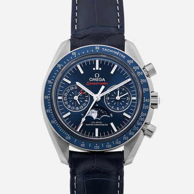 Omega Speedmaster Moonwatch Co-Axial Master Chronometer Moonphase Chronograph 44.25mm Blue Dial