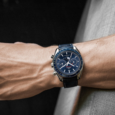 OMEGA Speedmaster Moonwatch Co-Axial Master Chronometer Moonphase Chronograph 44.25mm Blue Dial alternate image.