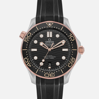 OMEGA Seamaster Diver 300M Co-Axial Master Chronometer 42mm Two-Tone Black Dial On Rubber Strap