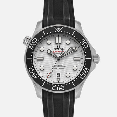 OMEGA Seamaster Diver 300M Co-Axial Master Chronometer 42mm White Dial On Rubber Strap