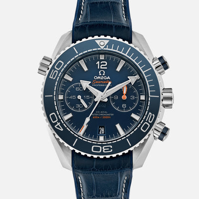 OMEGA Seamaster Planet Ocean 600M Co-Axial Master Chronometer Chronograph 45.5mm Blue Dial On Leather Strap With Rubber Lining