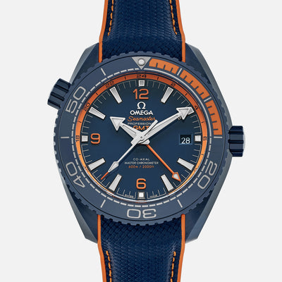 OMEGA Seamaster Planet Ocean 600M Co-Axial Master Chronometer GMT 45.5mm 'Big Blue' Ceramic On Rubber Strap