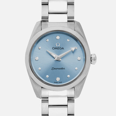 OMEGA Seamaster Aqua Terra 150M Quartz 28mm Stainless Steel With Blue Dial And Diamonds