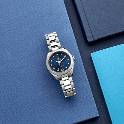 OMEGA Seamaster Aqua Terra 150M Co-Axial Master Chronometer 34mm Blue Dial With Diamonds alternate image.