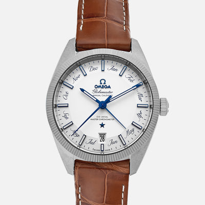 OMEGA Constellation Globemaster Co-Axial Master Chronometer Annual Calendar 41mm White Dial On Leather Strap