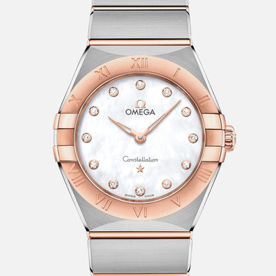OMEGA Constellation Quartz 28mm Sedna Gold Two-Tone With Mother-Of-Pearl Dial And Diamonds