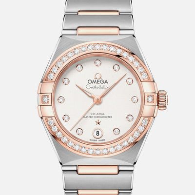 OMEGA Constellation Co-Axial Master Chronometer 29mm Sedna Gold Two-Tone With Diamond-Set Bezel