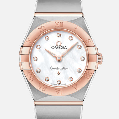 OMEGA Constellation Quartz 25mm Sedna Gold Two-Tone With Mother-Of-Pearl Dial And Diamonds