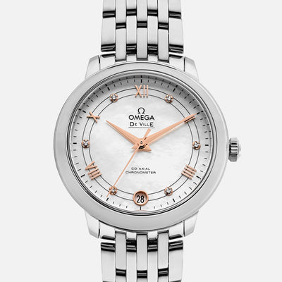 OMEGA De Ville Prestige Co-Axial 32mm Mother-Of-Pearl Dial With Diamonds