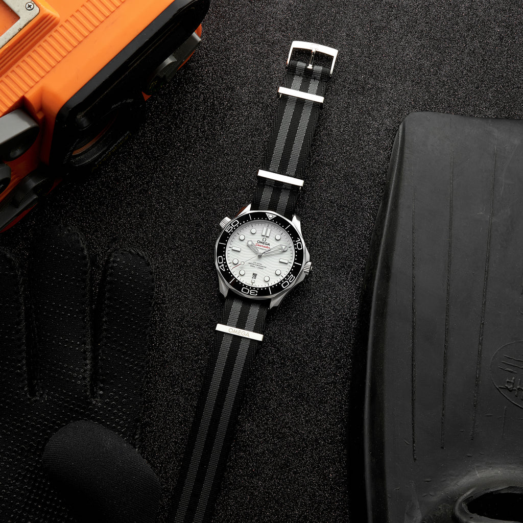 OMEGA NATO Strap In Five-Stripe Black And Grey