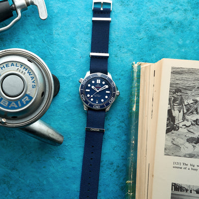 OMEGA NATO Strap In Blue alternate image.