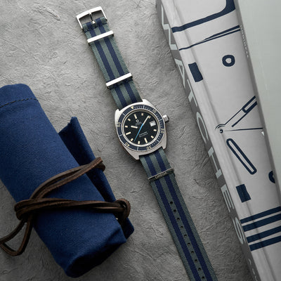 OMEGA NATO Strap In Five-Stripe Blue And Grey alternate image.