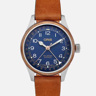 Oris Big Crown Pointer Date 36mm Bronze Bezel Blue Dial