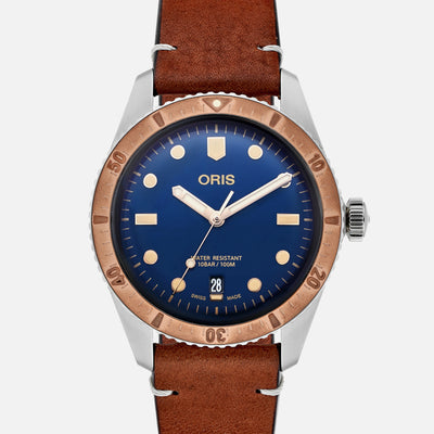 Oris Divers Sixty-Five 'Bico' 40mm Bronze Bezel Blue Dial On Strap