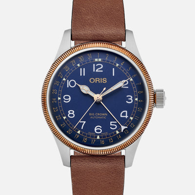 Oris Big Crown Pointer Date 40mm Bronze Bezel Blue Dial