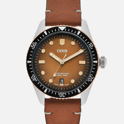 Oris Divers Sixty-Five 'Sunset Brown' 40mm In Bronze And Stainless Steel On Strap