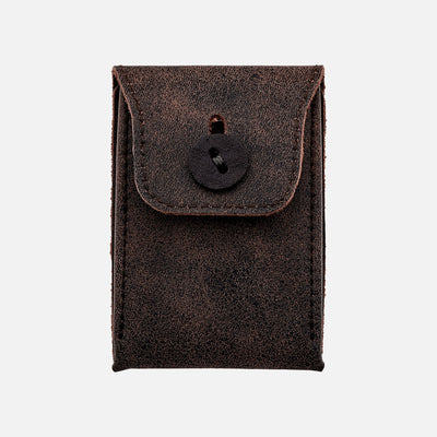 Distressed Soft Leather Mini Watch Pouch In Brown